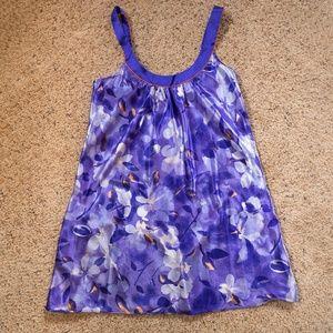 Liquid satin purple and orange floral nightie Med